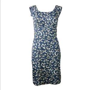 Ann Taylor Blue Leopard Sheath Midi Dress Sz 10